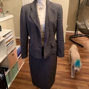 Evan Picone Gray pinstripes Separates Skirt Suit